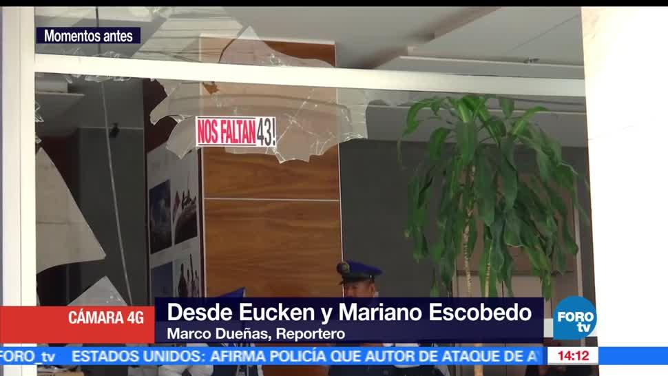 Manifestantes vandalizan, oficinas del Secretariado Ejecutivo del SNSP, supuestos familiares de los normalistas, Ayotzinapa