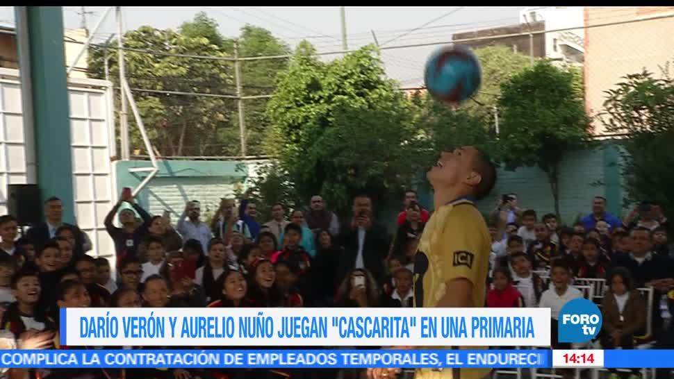 Darío Verón, Aurelio Nuño, juegan una cascarita, primaria