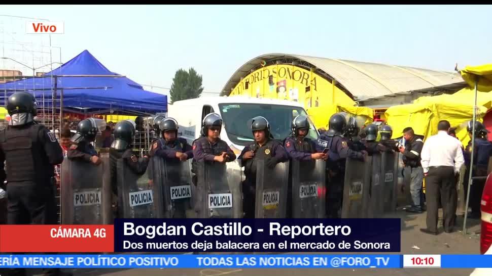 Dos muertos, balacera, Mercado, Sonora