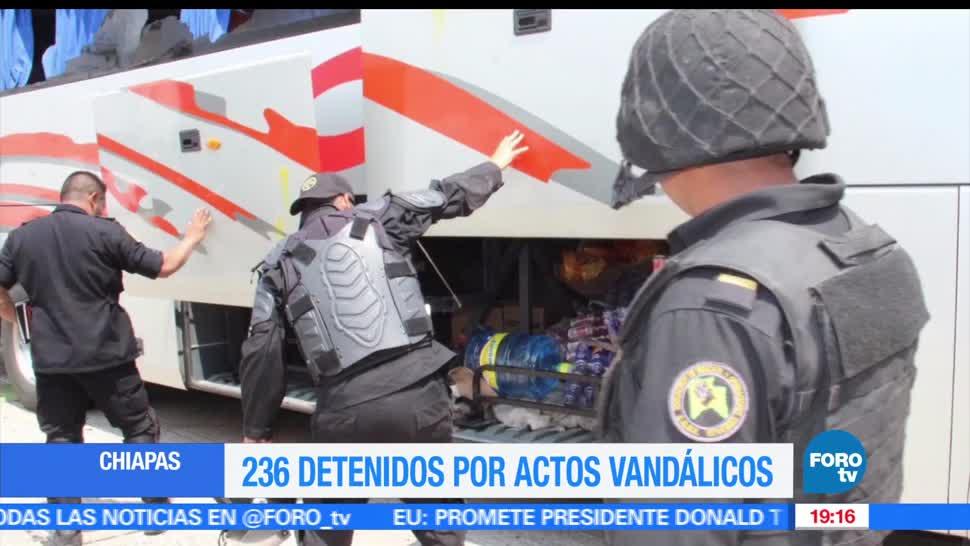 Detienen, Jovenes, Actos vanadalicos, Chiapas, Establecimiento, vehículos,