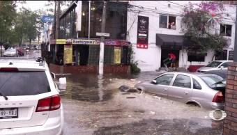 Lluvias intensas, granizo sorprenden, CDMX, Ciudad de Mexico, Encharcamientos, Coyoacán