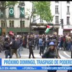 Protestas en Francia, triunfo, presidente electo, Emmanuel Macron,