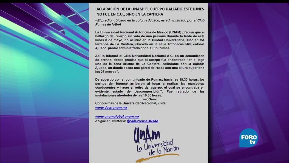 noticias, televisa news, Hallan un cuerpo, predio, La Cantera, UNAM