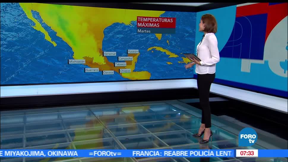 baja presión, lluvias, Hidalgo, Puebla, Chiapas, grados centígrados