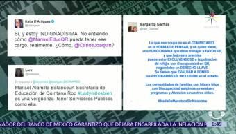 secretaria de Educación, Quintana Roo, Marisol Alamilla, declaraciones