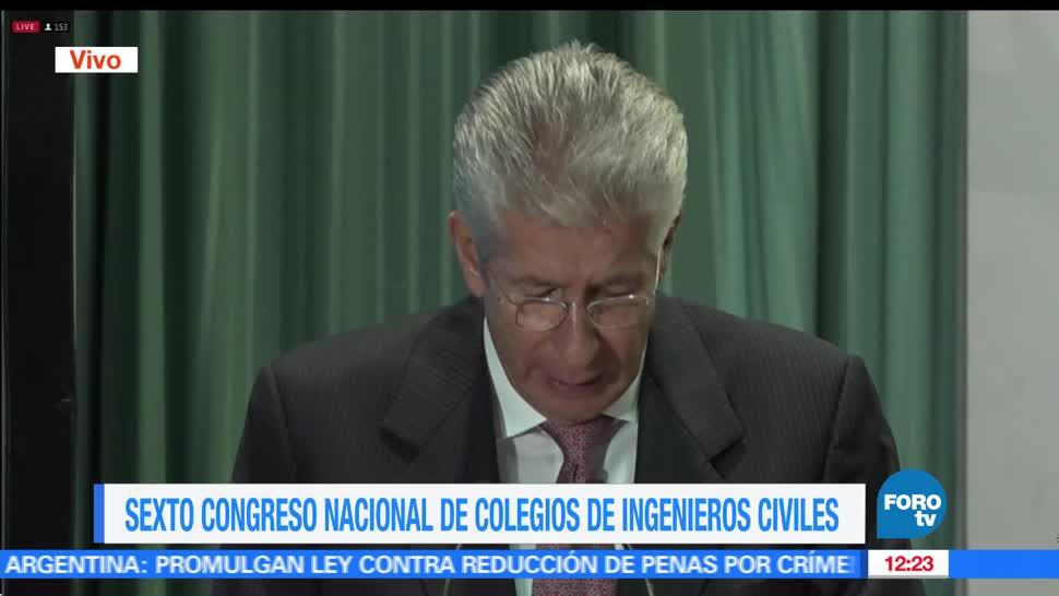 El secretario de Comunicaciones y Transportes, Gerardo Ruiz Esparza, Sexto congreso nacional, Colegios de Ingenieros Civiles