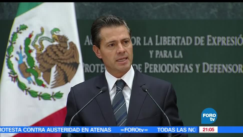Peña Nieto, anuncia, acciones, contra periodistas y activistas, crimen
