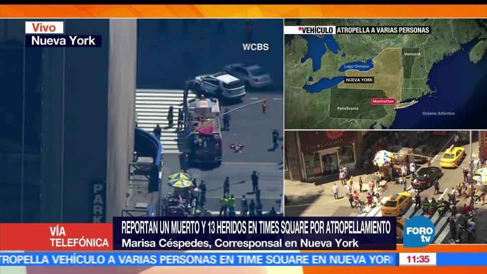 Estados Unidos, 13 lesionados, atropellamiento de peatones, Times Square, Nueva York