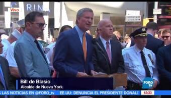 Bill de Blasio, alcalde de Nueva York, joven detenido, atropellamiento, Times Square
