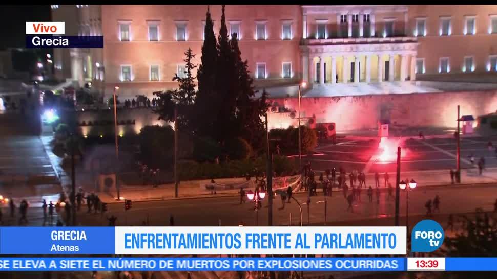 noticias, FOROtv, enfrentamientos, Parlamento, Grecia, medidas de austeridad