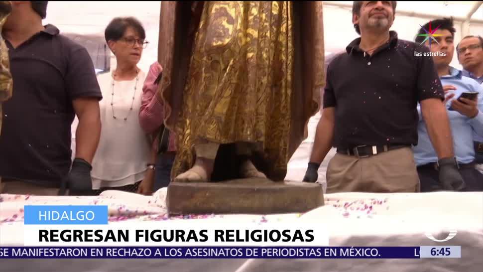 Recuperan, imágenes, religiosas, robadas Hidalgo