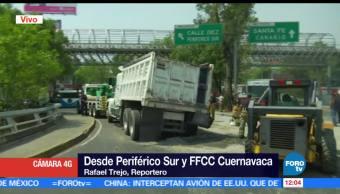 Vuelca, camión, Periférico Sur, CDMX
