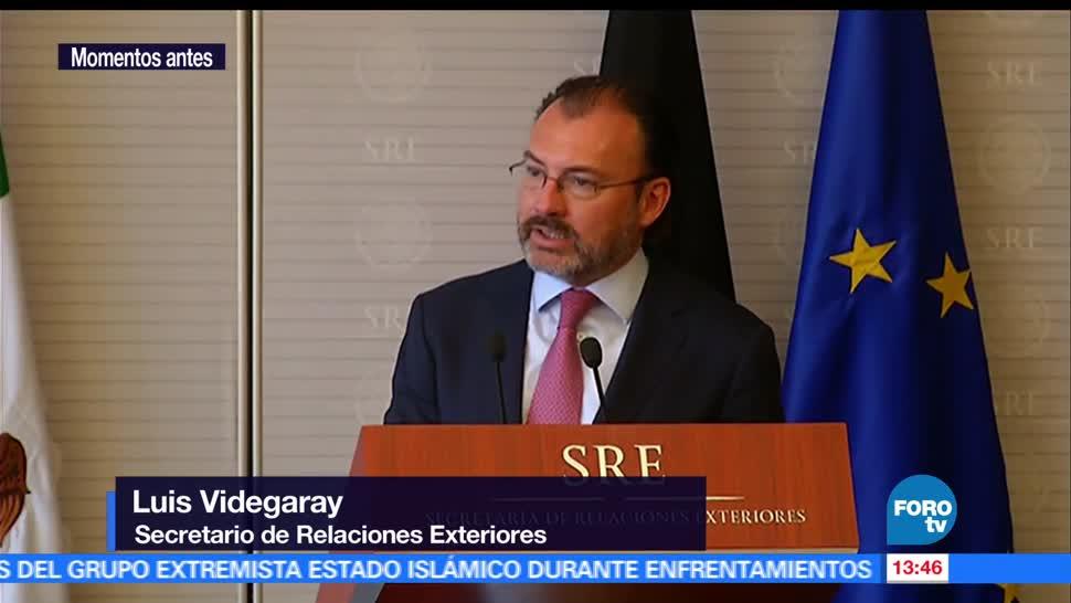 Sigmar Gabriel, ministro de Exteriores de Alemania,, Luis Videgaray, recibe