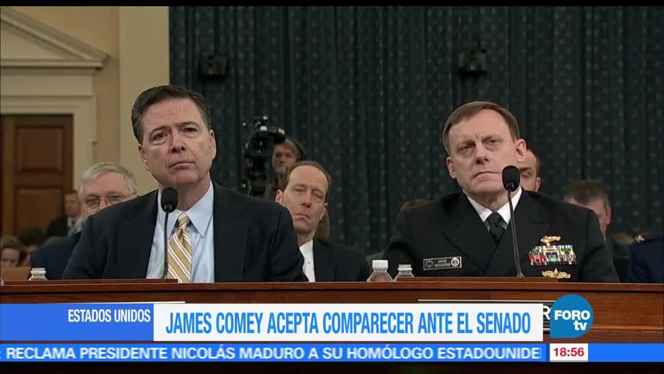 James Comey, exdirector, FBI, Estados Unidos, acepta, comparecer Senado