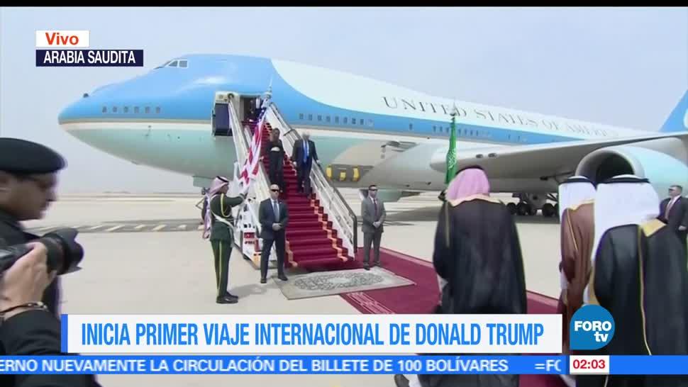 primera gira internacional, Donald Trump, terriza en Riad, Arabia Saudita