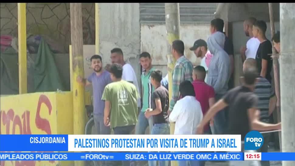 Cientos de palestinos, visita del presidente Donald Trump, Israel, manifestantes