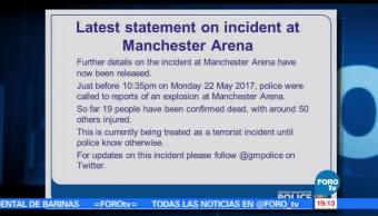 Confirman, 19 muertos, Policía británica, explosiones Manchester