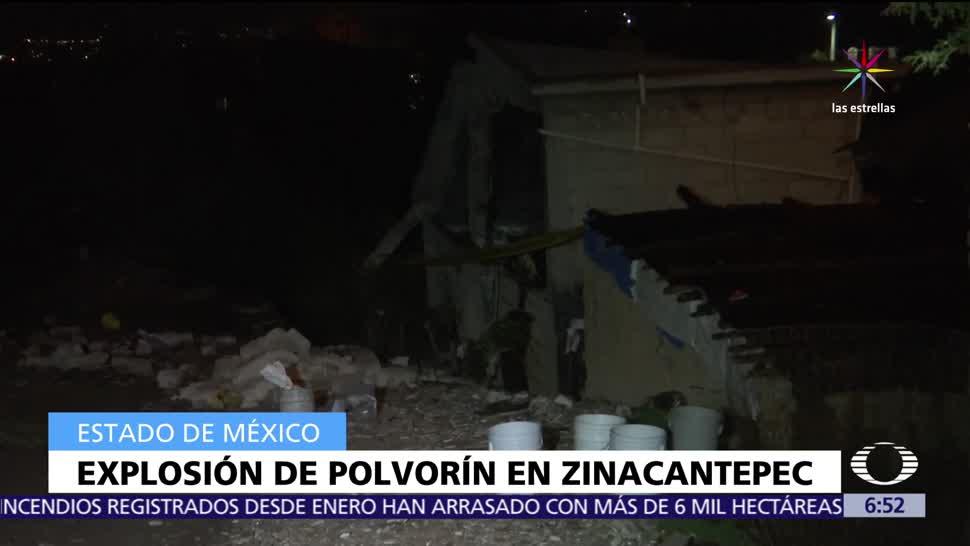 Explosión, material pirotécnico, heridos, taller de Zinacantepec, Estado de México