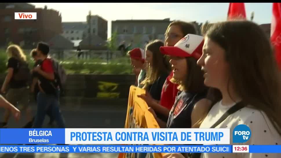 personas, manifestaron, Bruselas, presidente Donald Trump