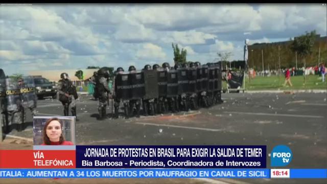 Ejército brasileño, custodia, edificios gubernamentales, enfrentamientos, manifestantes, Michel Temer