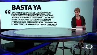 Medios nacionales, extranjeros, suscriben, desplegado, Basta ya, crimen