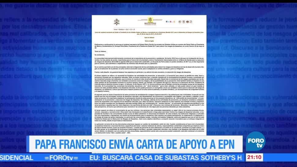 Papa, Francisco, envía carta, EPN, riesgos, desastres naturales