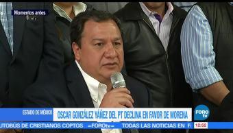 Óscar González, declina, Delfina Gómez, Partido del Trabajo