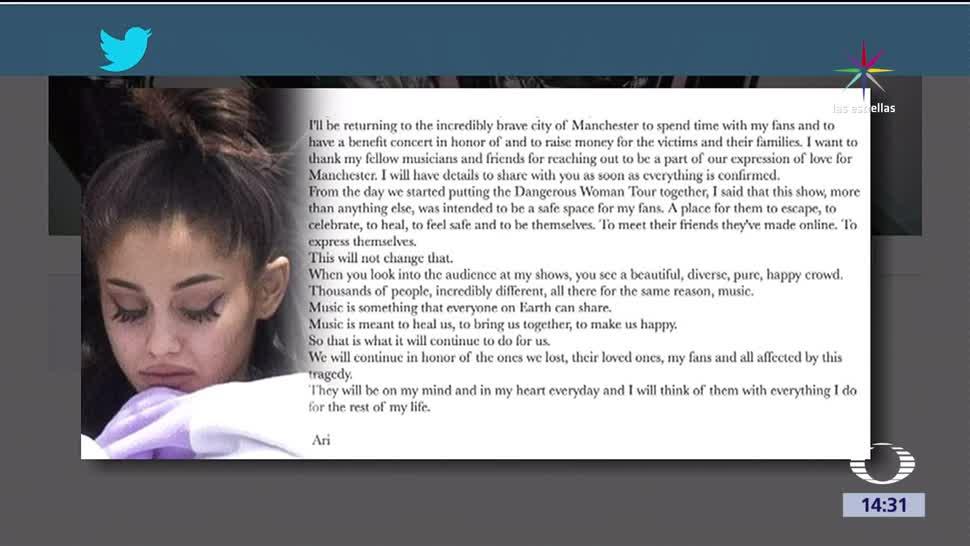 noticias, televisa, Ariana Grande, regresará, Manchester, Reino Unido