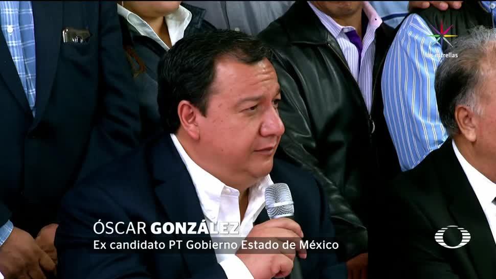 Candidato, PT, declina, Morena, Delfina Gómez. oscar González