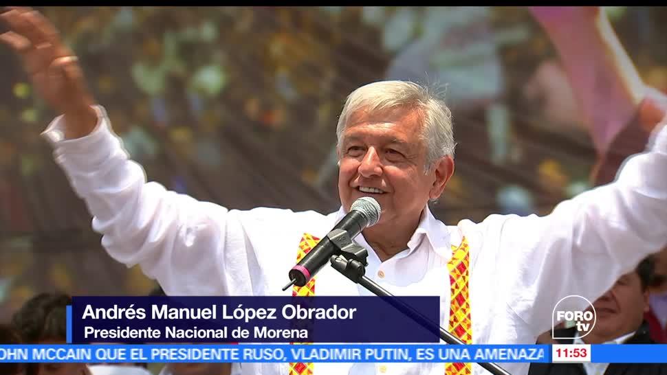 Andrés Manuel López Obrador, líder nacional de Morena, cierres de campaña, candidatos