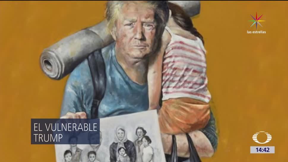 Artista Abdallah Omari, sirio, dibuja a un Trump, temeroso