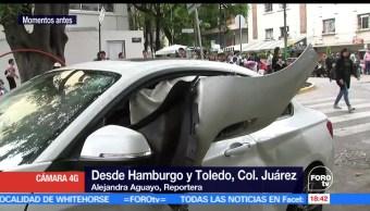 Choque, atropellamiento, colonia Juárez, Dos autos