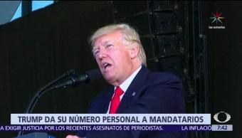 Donald Trump, número privado, jefes de Estado, protocolo diplomático