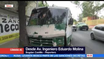 unidad del transporte, transporte público, avenida Eduardo Molina, Ciudad de México, lesionadas