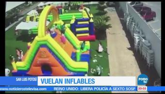 Ventarrones, vuelan, juegos inflables, San Luis Potosí, vientos, levantan