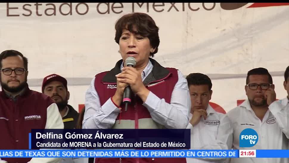 Delfina, Gómez, visita, Texcoco, candidata, morena