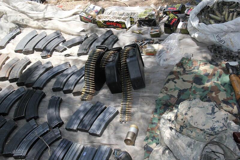 Arsenal decomisado en Sinaloa por militares