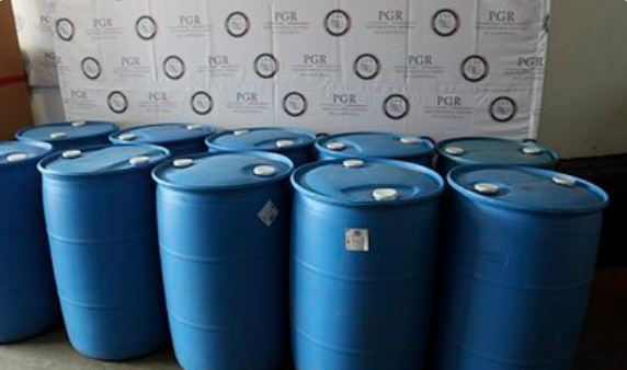 Aseguran en Jalisco 10 tambos con ácido clorhídrico