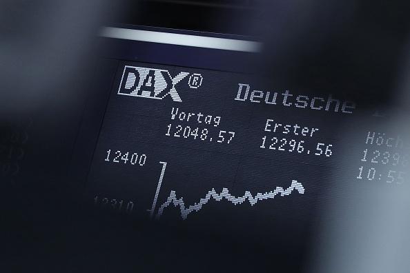 Curva del Dax, Índice accionario, Bolsa de Frankfurt, Tablero electrónico, Bolsas europeas