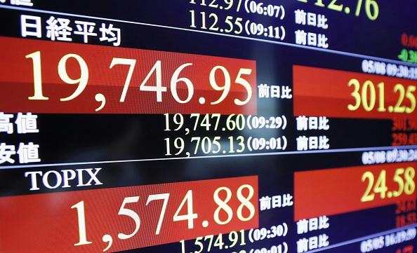 Tablero electrónico de la Bolsa de Tokio muestra cómo las acciones han tocado un máximo de 17 meses. (Getty Images)