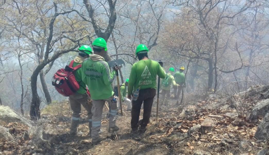 Brigadistas luchan contra incendio forestal en Chiapas
