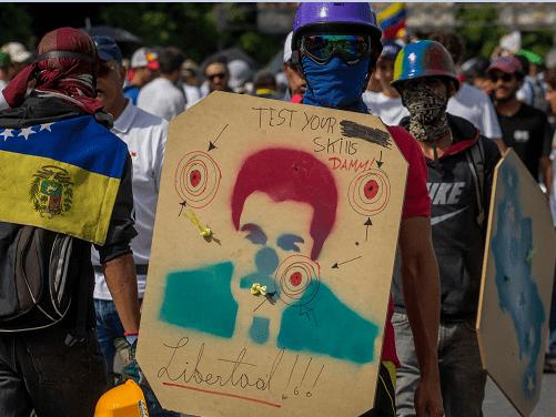 Cartel con la imagen de Nicolas Maduro