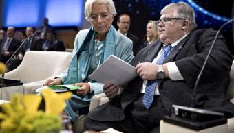 Christine Lagarde, directora gerente del FMI, y Agustín Carstens, gobernador del Banxico