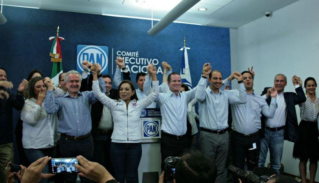 Vázquez Mota durante una conferencia de prensa de su partido (Twitter @AccionNacional)