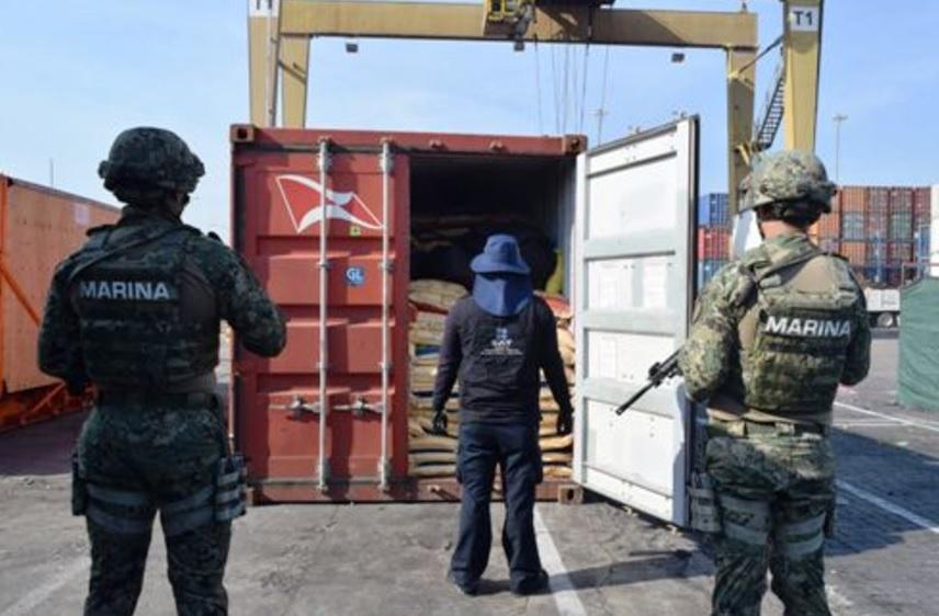 El contenedor con los 135 kilos de cocaína tenía como destino Vancouver, Canadá. (Twitter: @colima_pm)