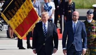 Donald Trump fue recibido en Bruselas por el premier Charles Michel
