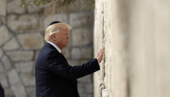 Donald Trump en el Muro de los Lamentos, en Jerusalen