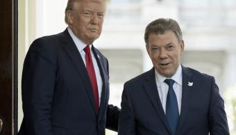 El presidente Donald Trump recibió a su colega colombiano, Juan Manuel Santos, en la Casa Blanca