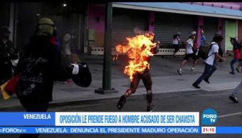 Incendian, simpatizante, chavista, manifestaciones en Venezuela, Prenden, fuego
