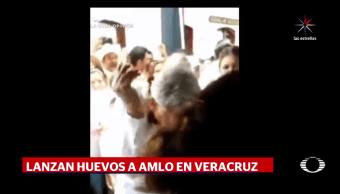 Lanzan, huevos, AMLO, Veracruz, Morena, Huatusco